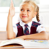 Image of smart child reading interesting book in classroom. Hori — Stock Photo