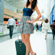 Young pretty stylish woman with luggage at the international air — Stok fotoğraf