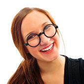 Young smiling student woman. Over white background — Stock Photo