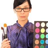 Closeup portrait of young woman visagiste — Stockfoto
