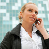 Portrait of pretty beautiful business woman on the phone with a — Stock Photo