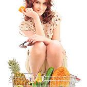 Closeup portrait of pretty caucasian woman wearing stylish cloth — Stock Photo