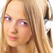 Beautiful woman with headphones, she is listening to the music — Stock Photo #6668781