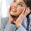Closeup portrait of cute young modern business woman dreaming — Stock Photo #6688269
