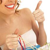 购物袋白上的可爱女人的肖像 — 图库照片