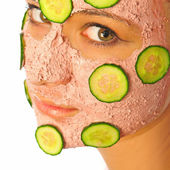 Skincare woman with beauty mask — Stock Photo