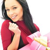 Krásné evropské mladá žena drží její obrovský dar proti whi — Stock fotografie