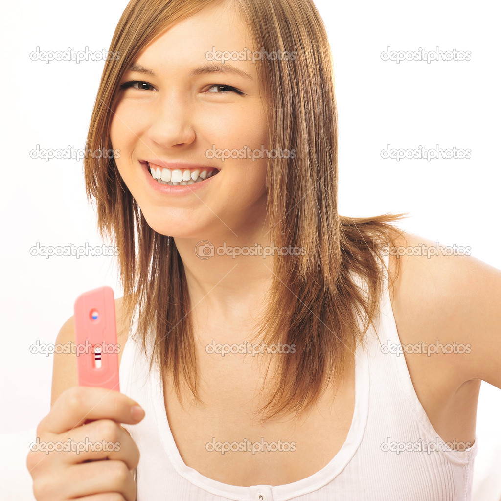 Pregnancy test - happy surprised woman, positive result — 图库照片 #6688139