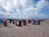 Beachchairs on the island of amrum in germany — Stock fotografie