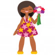 Funny little girl with flowers - Stock Vector