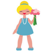 Little blonde girl with flowers — Stock Vector