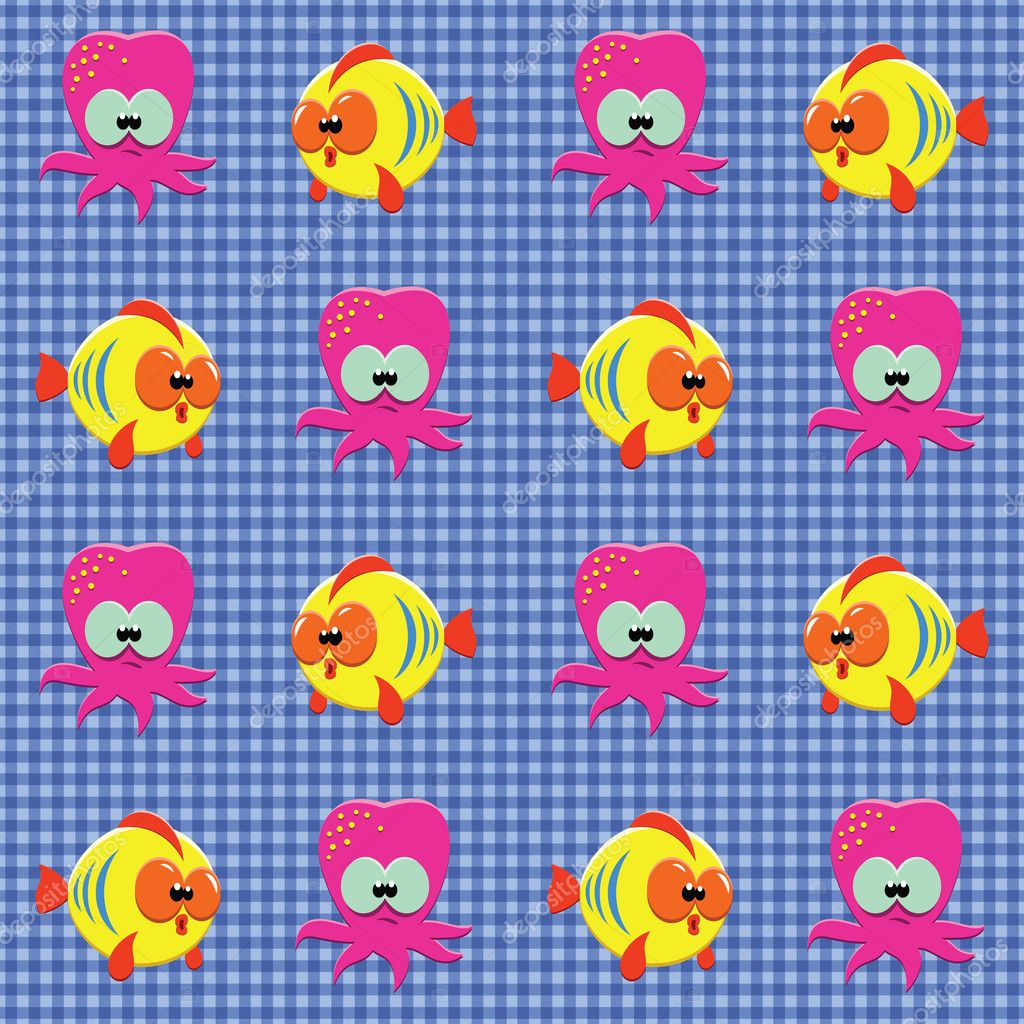 Vector seamless checked blue pattern with funny cartoon fishes and octopuses — Stock Vector #5912599