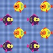 Checked pattern with funny fishes - Stock Vector
