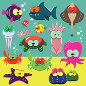 Funny sea animals set — Stock Vector