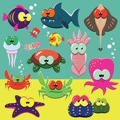 Funny sea animals set — Stock Vector