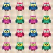 Checked pattern with cute owls - Stock Vector