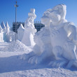Snow sculpture of two chickens — Stock Photo #5771471