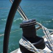Cruising on a sailing boat, winch - Stock Photo