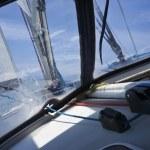 Cruising on a sailing boat — Stock Photo