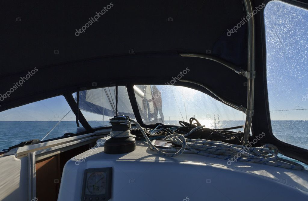Italy, Sicily, Mediterranean sea, cruising on a sailing boat — Stock Photo #6431382