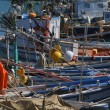 Italy, Sicily, Marina di Ragusa, fishing boats in the port — Stock Photo