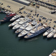 Foto de Stock  : Italy, Tuscany, Viareggio, luxury yachts in port, aerial view