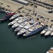 Stockfoto: Italy, Tuscany, Viareggio, luxury yachts in port, aerial view