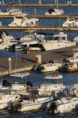Italy, Siciliy, Mediterranean sea, Marina di Ragusa, view of luxury yachts — Stock Photo