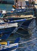Italy, Sicily, Marina di Ragusa, fishing boats in the port — Foto Stock