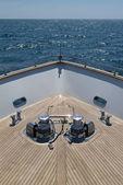 Italy, Tuscany, Viareggio, Tecnomar 35 Fly luxury yacht, bow — Stock Photo
