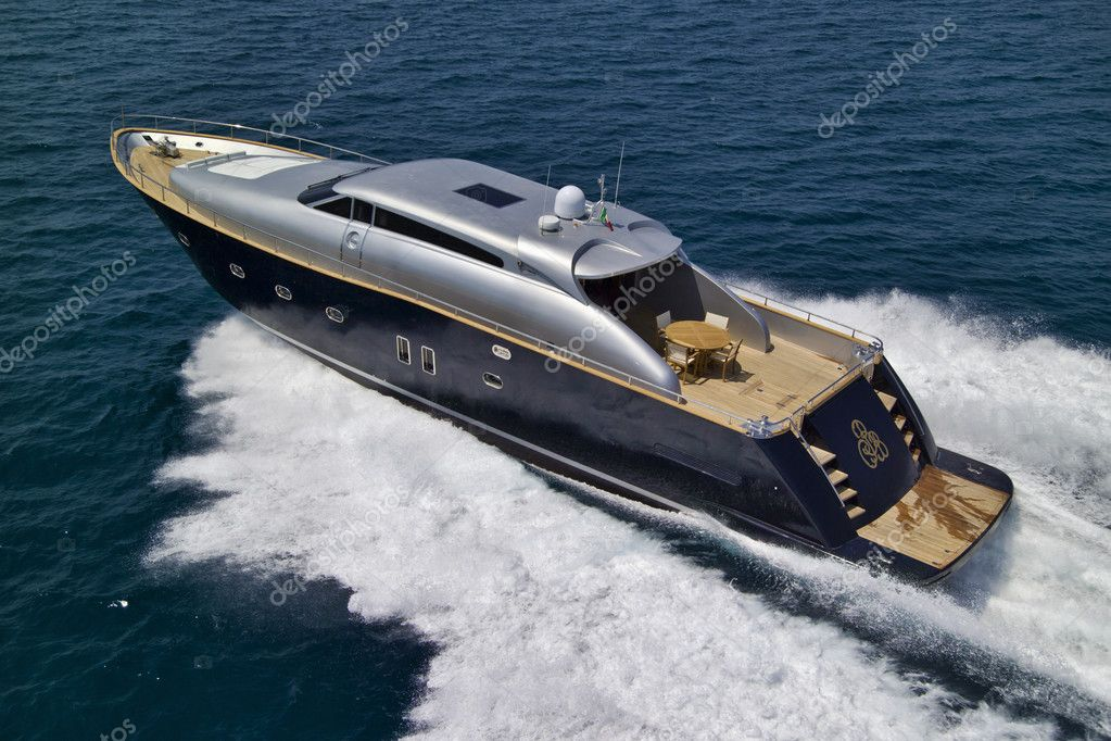 Italy, Tuscany, Viareggio, Tecnomar Velvet 26 luxury yacht (26 meters), aerial view — Stock Photo #6491660