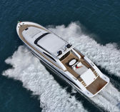 Italy, Tirrenian sea, off the coast of Viareggio, Tecnomar Velvet 90 luxury — Stock Photo