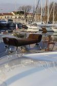 Italy, Tuscany, Viareggio, Tecnomar Velvet 83 luxury yacht, bow — Stok fotoğraf