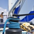 Italy, Sicily, Mediterranean Sea, cruising on a sailing boat, winch — Stock Photo