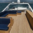 Italy, Tyrrhenian Sea, Tecnomar 35 luxury yacht, flybridge - Stockfoto