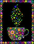 Flower cup of tea — Stock Vector