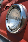 Headlight of Old Red Wheat Truck — Stock Photo