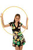 Beautiful girl with hoop, isolated on white — Stock Photo