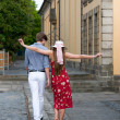 Cheerful young couple posing — Stock Photo