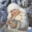 Girl with snowflake — Stock Photo #5935579