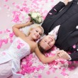 Studio shot of wedding couple - Stock Photo