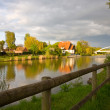 Sunset on Mittelland canal, Hannover, Germany, - Stock Photo
