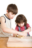 Children making a dough — Stock Photo