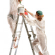Attractive young adult couple painting — Stock Photo #6012222
