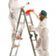 Attractive young adult couple painting — Stock Photo #6018475