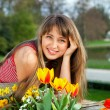 Beautiful spring portrait with tulips — Stock Photo #6028694
