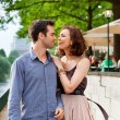 Happy couple walking on street — Stock Photo #6040337