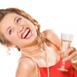 Attractive girl with champagne glass — Stock Photo #6048508