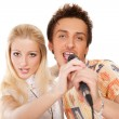 Royalty-Free Stock Photo: Attractive young couple singing