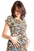 21 weeks happy pregnant woman — Stockfoto